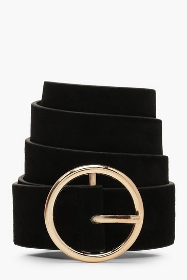Womens Black Suedette Circle Buckle Belt