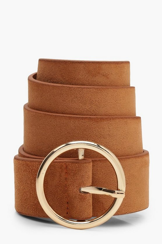 Womens Camel Suedette Circle Buckle Belt