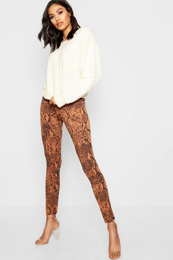 Tan Snake Print Leggings