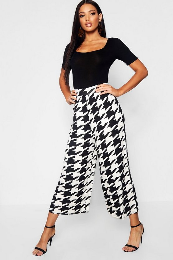 Womens Black Dogtooth Jersey Culottes