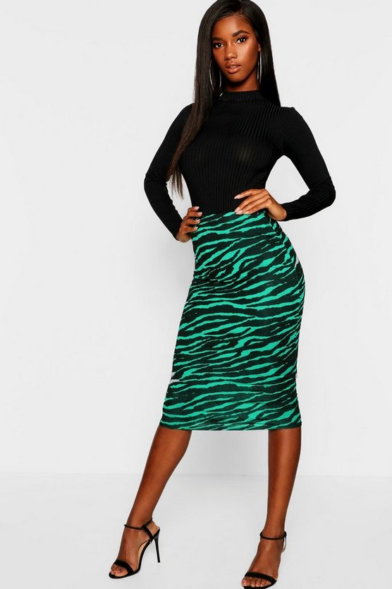 Emerald Tiger Midi Skirt
