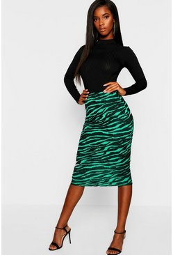 Womens Green Emerald Tiger Midi Skirt