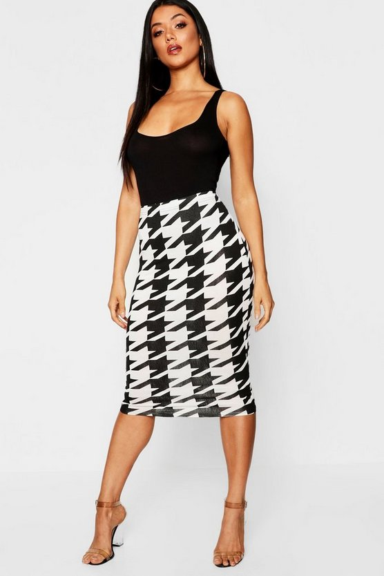 Womens Dogtooth Midi Skirt
