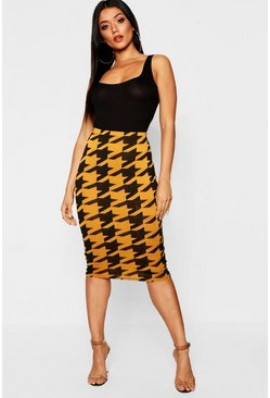 Womens Mustard Dogtooth Midi Skirt