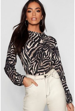 Womens Natural Tiger Pleated Neck Woven Blouse