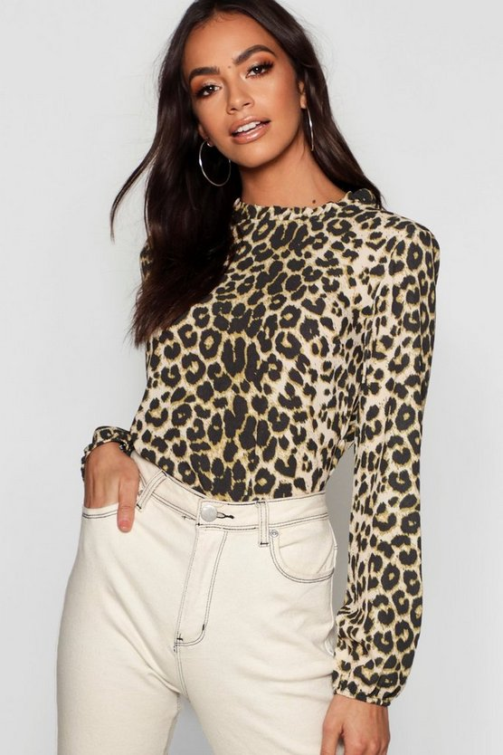 Natural Leopard Pleat Neck Woven Blouse