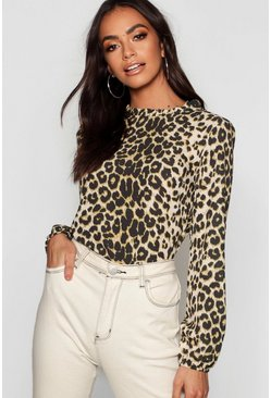 Womens Natural Leopard Pleat Neck Woven Blouse