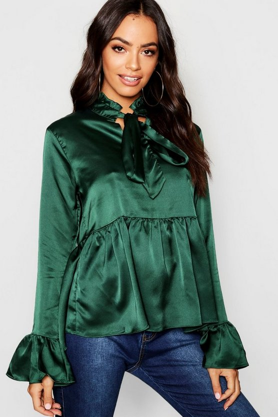Satin Pleated Tie Detail Peplum Blouse