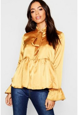 Womens Mustard Satin Pleated Tie Detail Peplum Blouse