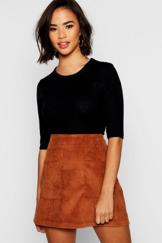 Baby Cord Pocket Front Mini Skirt