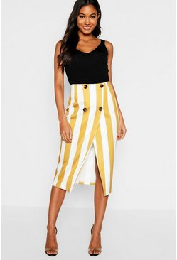 Womens Mustard Button Detail Stripe Midi Skirt