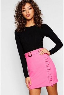 Womens Hot pink Woven Belted Ruffle Mini Skirt