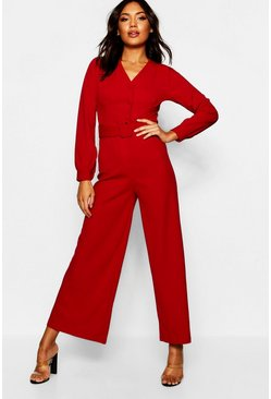 Womens Burgundy Wide Leg Belted Jumpsuit
