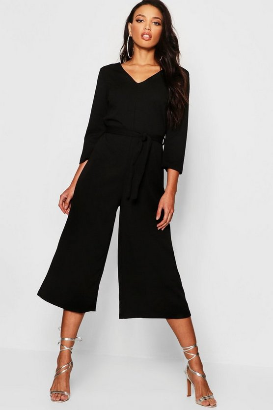 Womens Long Sleeve Belted Wide Leg Jumpsuit