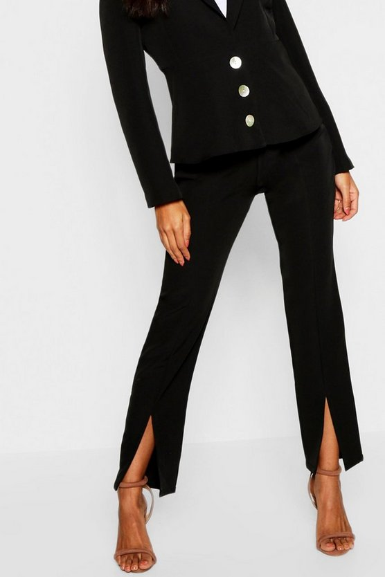 Womens Black Split Front Tailored Pants