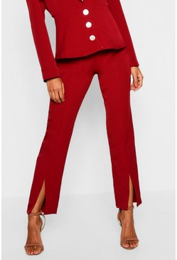 Womens Wine Split Front Tailored Trouser