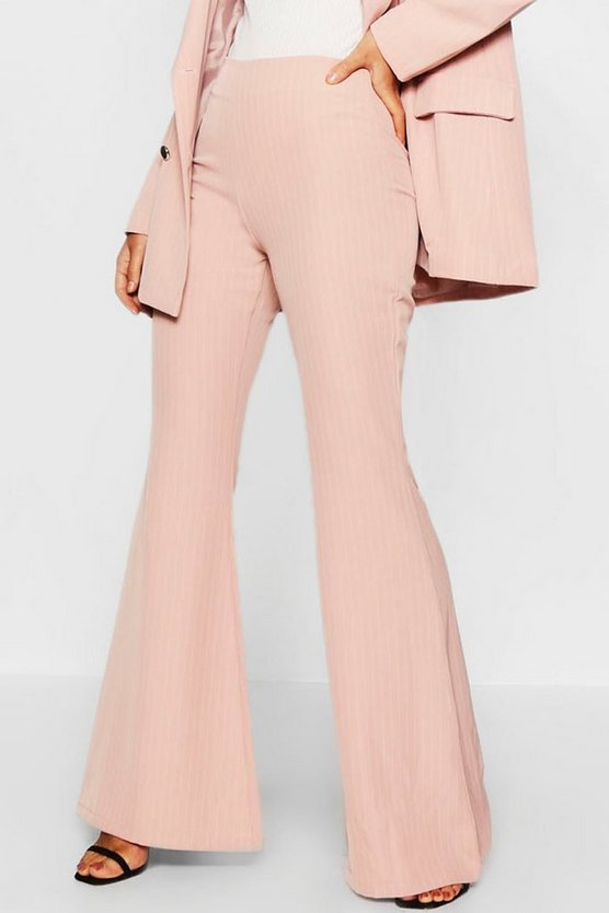 Womens Pink Pinstripe Flared Trouser