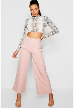 Womens Rose Military Pocket Wide Leg Pants