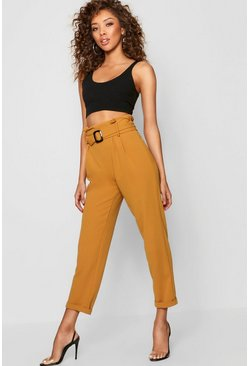 Womens Mustard Tortoise Shell Buckle Tailored Trouser