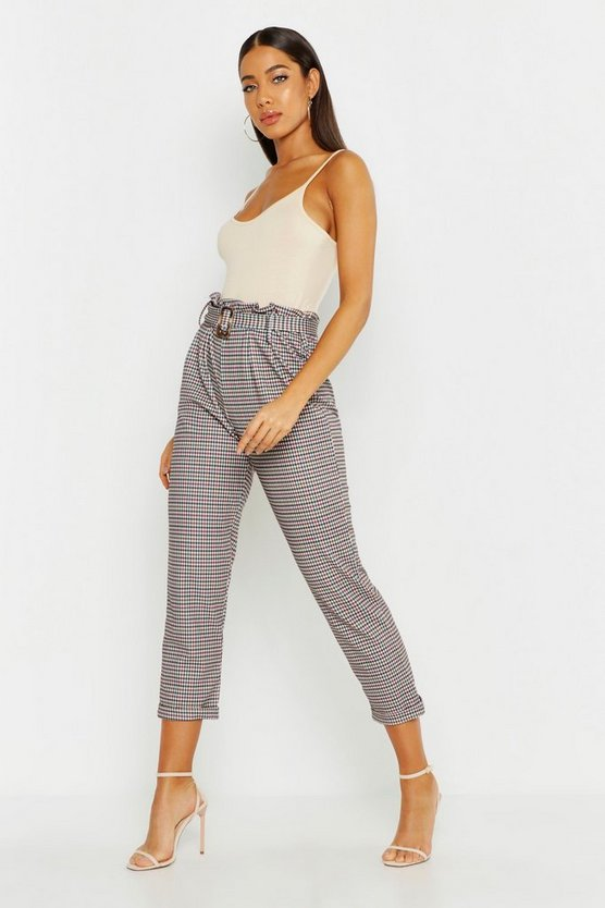 Womens Burgundy Heritage Check Belted Tapered Trouser