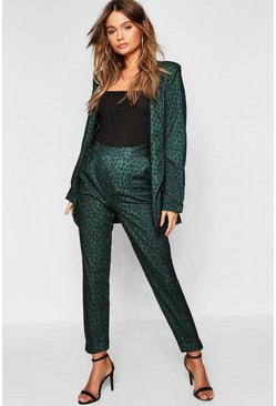 Womens Green Leopard Tapered Trouser