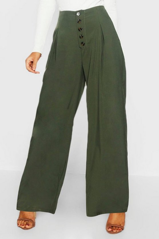 Womens Khaki Mock Horn Button Wide Leg Trouser