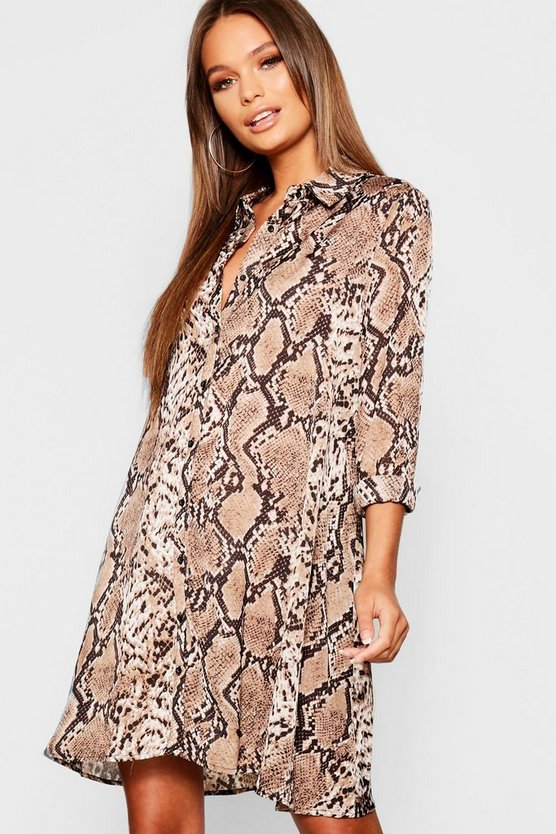 Woven Snake Print Swing Shirt Dress