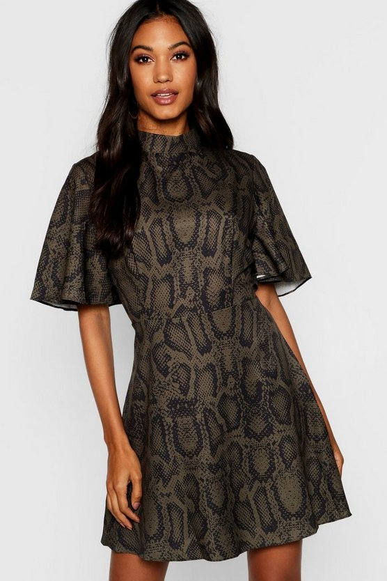 Woven Snake Print Funnel Neck Skater Dress