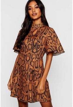 Womens Rust Woven Snake Print Funnel Neck Skater Dress