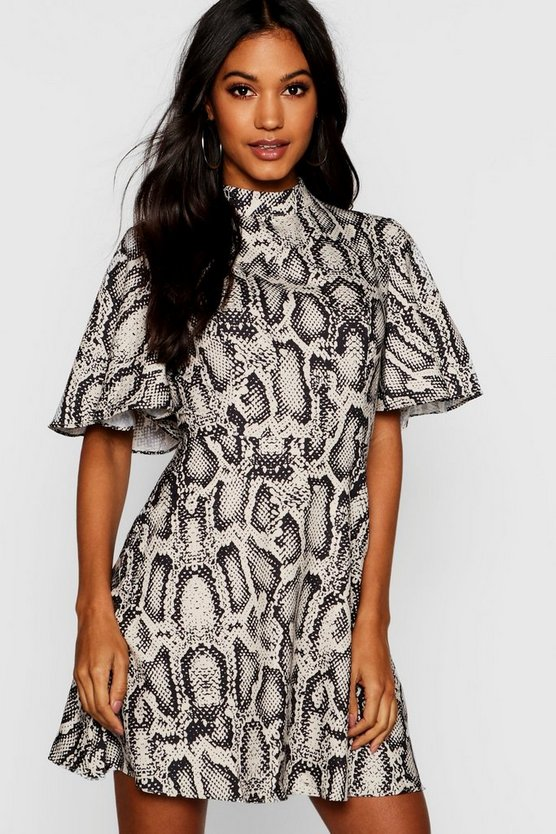 Stone Woven Snake Print Funnel Neck Skater Dress