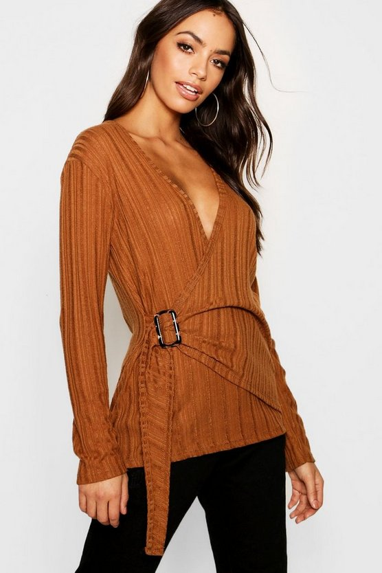 Rib Knit Wrap Buckle Top