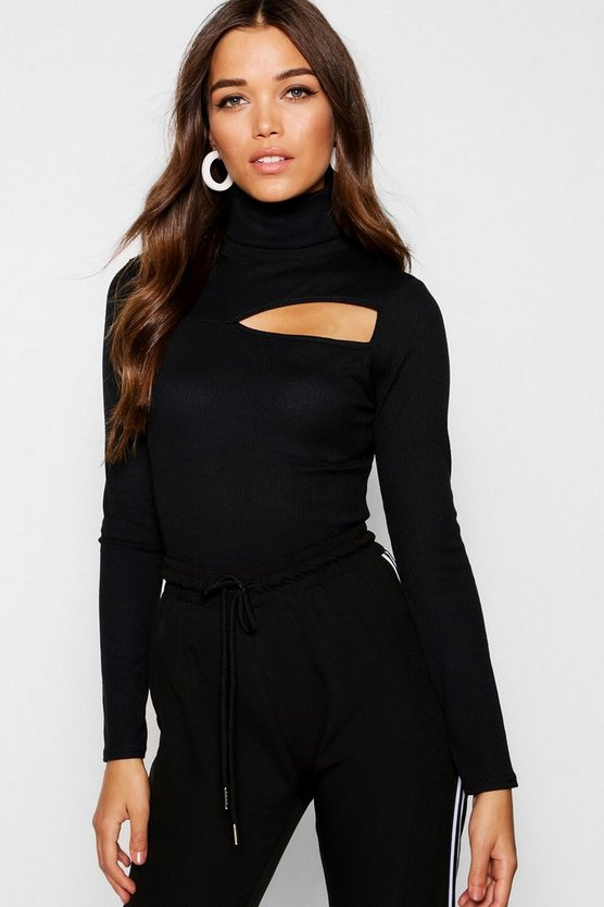 Womens Black Roll Neck Rib Knit Cut Out Top