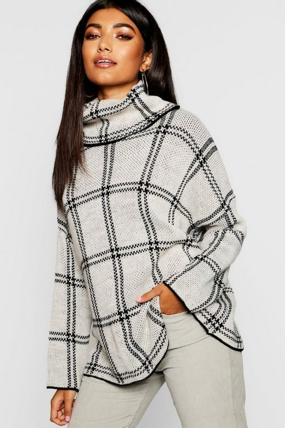 Womens Stone Oversized Check Roll Neck Jumper