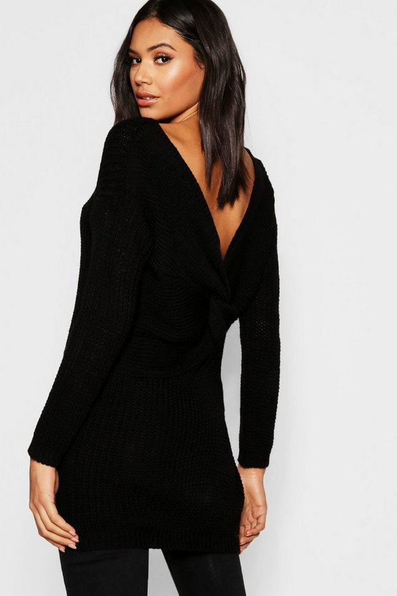 Womens Black Longline Twist Back Jumper
