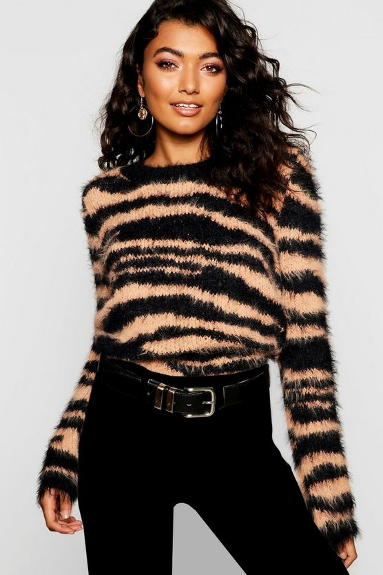 Womens Beige Fluffy Knit Tiger Print Jumper