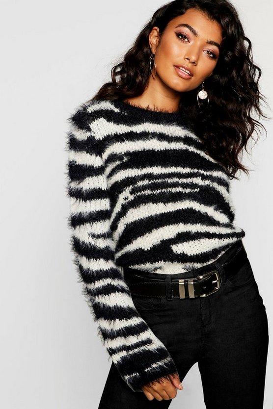 Fluffy Knit Tiger Print Jumper