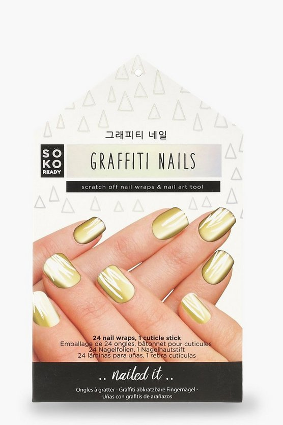 Womens Gold Soko Ready Graffiti Nails