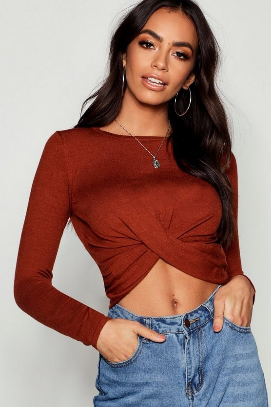 Soft Knit Twist Longline Front Crop Jumper