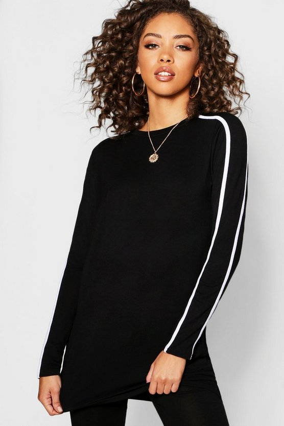 Black Stripe Sleeve Long Sleeve T-Shirt