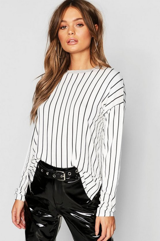 Stripe Split Side Long Sleeve T-Shirt