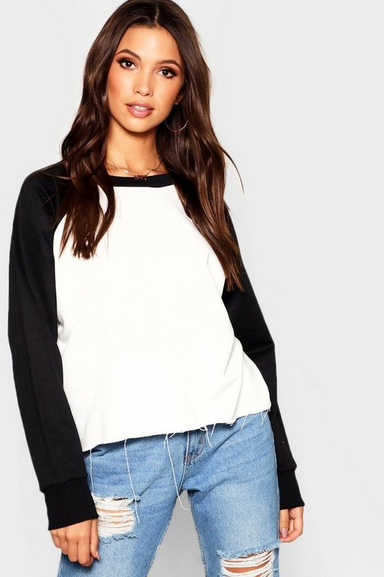 Womens Black Raglan Sleeve Crop Sweat