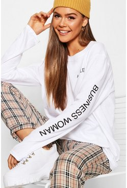Womens White Hustler Long Sleeve Slogan T-Shirt