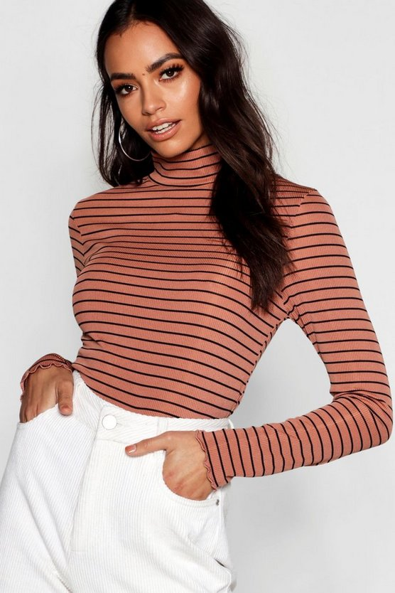 Turtle Neck Stripe Long Sleeve Top