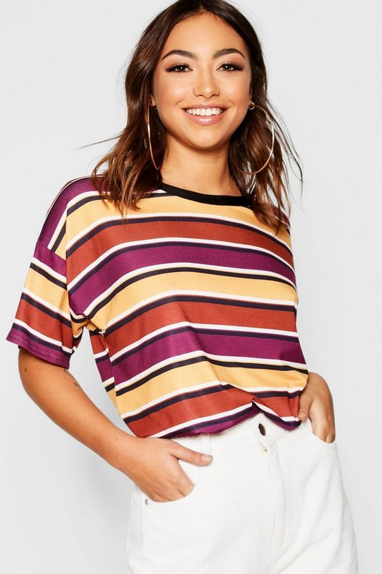 Womens Wine Stripe Print T-Shirt