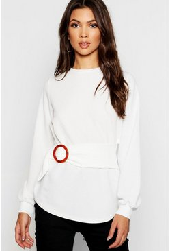 Womens White Balloon Sleeve Buckle Detail Sweat