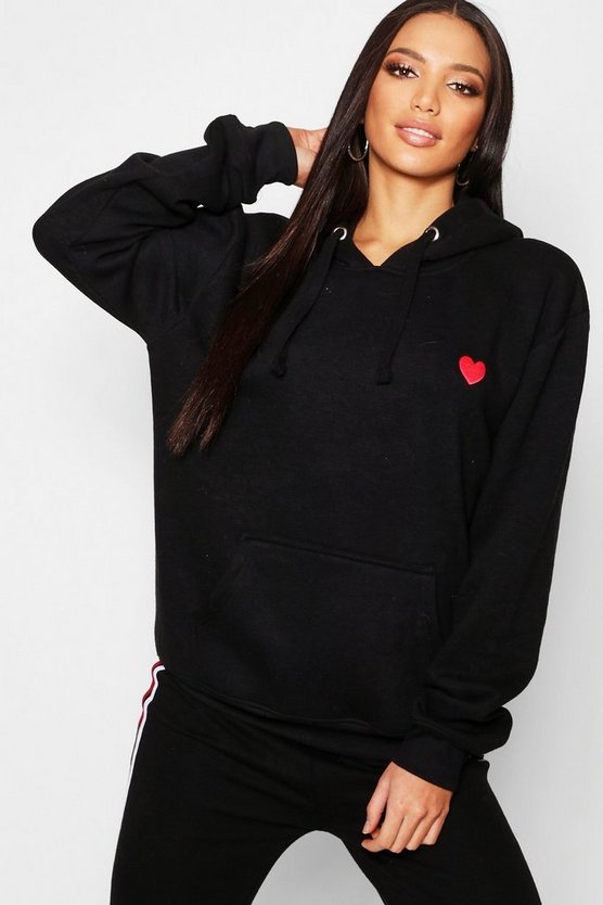 Womens Black Embroidered Oversized Hoody