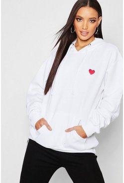 Womens White Embroidered Oversized Hoody