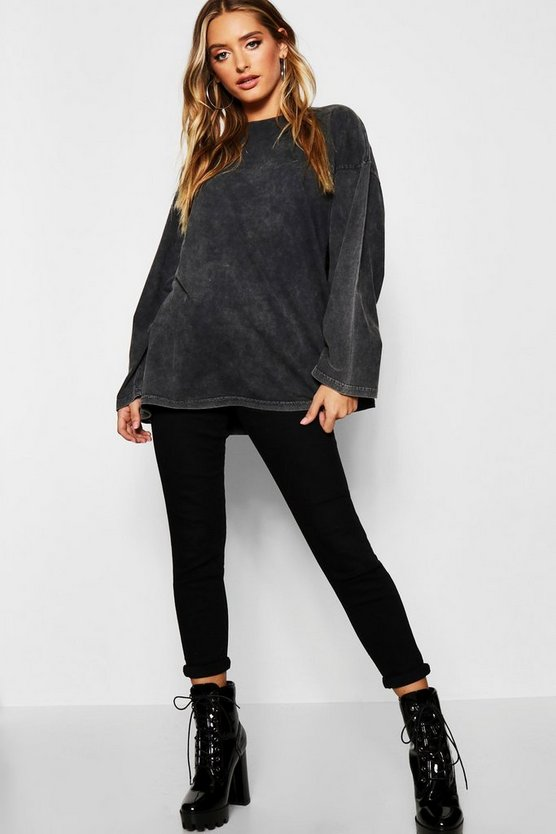 Oversized Long Sleeve Washed T-Shirt