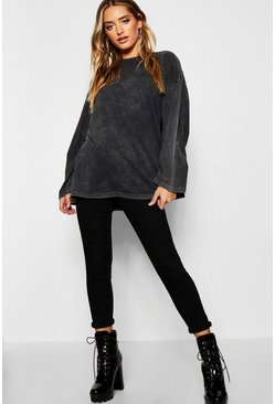 Womens Charcoal Oversized Long Sleeve Washed T-Shirt