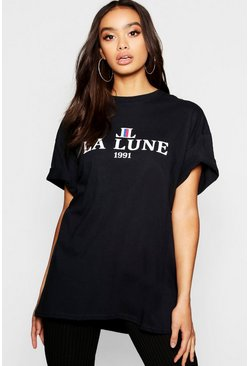 Womens Black Oversized La Lune Slogan T-Shirt
